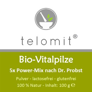 telomit® Bio-Vitalpilze 5 x Power-Mix - 1 Packung, Normalpreis